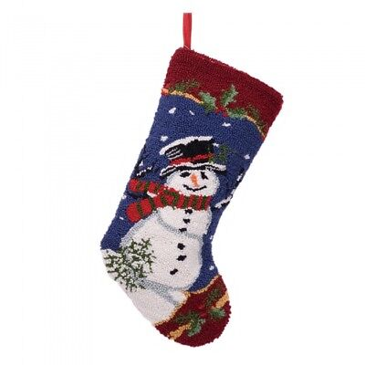 """Glitzhome 19"""" Handmade Hooked Snowman Christmas Stocking Hanging Decor Candy Bag"""
