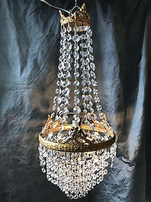 "Antique Crystal Chandelier Lighting Vintage Light Fixture ""wedding cake"" design"