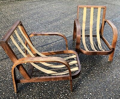 Superb Pair Of Art Deco Oak Bentwood Armchairs Delivery Available