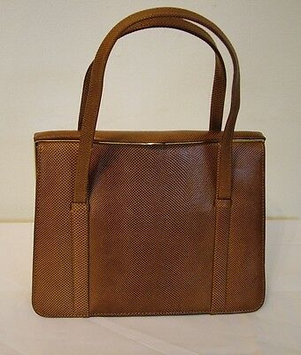 Vintage 60s Marquessa brown leather kelly bag handbag