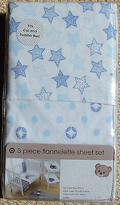 Target Baby Toddler Boys Bedding Blue White Stars Flannelette Cot Bed Sheet Set