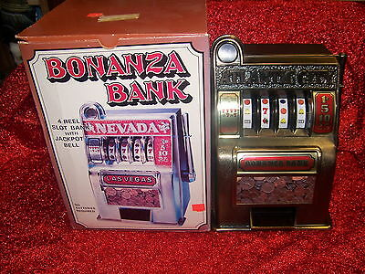 Las Vegas Nevada Toy Slot Machine Style Coin Bank madeby Bonanza Vintage Novelty