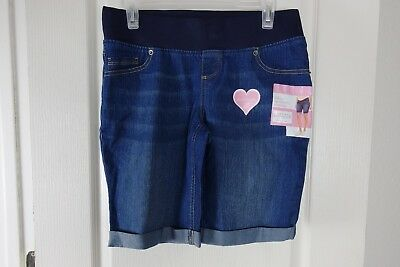 New Great Expectations Maternity Dark Denim Jean Shorts*Fit to Flatter Small 4-6
