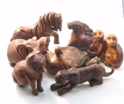 8 Boxwood Carve Animal Collection, Vintage, Collectibles, Chinese, Asian (Lot A)