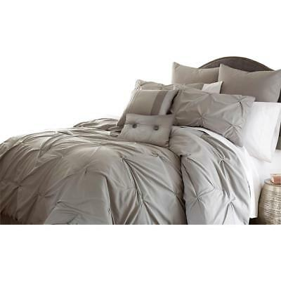 Embellished 8 Piece Comforter Set Oversized Overfilled Polyester Gray Queen