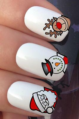 Christmas Nail Art #795 Reindeer Santa Snowman Water Transfers Decals Stickers