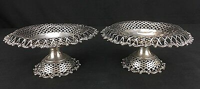 Elegant Pair of Antique Sterling Silver Compotes Marked Shreve Crum & Low Boston