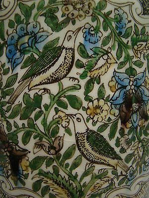 Genuine 19th Century Middle Eastern Vase with Flowers & Birds Great Condition