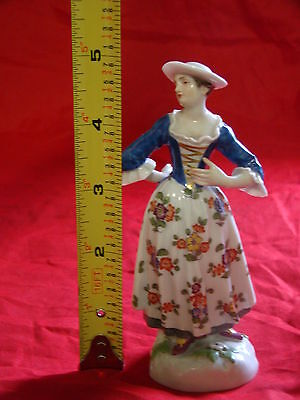 Gorgeous Antique Meissen Porcelain of a Beautiful Woman in Floral Dress