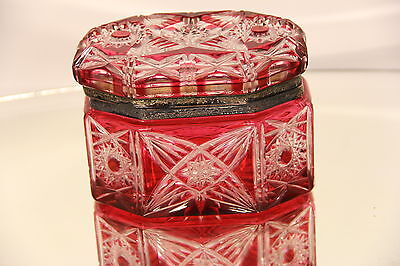 Gorgeous Antique Red Bohemian Cut Glass Box with Flawless Cuts