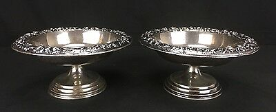 Gorgeous Antique Pair of Kirk & Son Sterling Silver Compotes Repousse Border