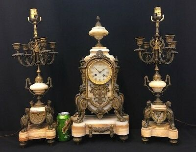 Large Empire Gorgeous Antique French Bronze & Marble Clock Set Fine Quality