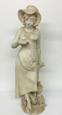 Magnificent Antique Marble Statue Of A Young Beautiful Girl Reading