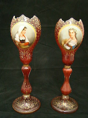 Pair of Mid-19th Century Gilded Bohemian Moser Glass Vases w/t Porcelain Plaques
