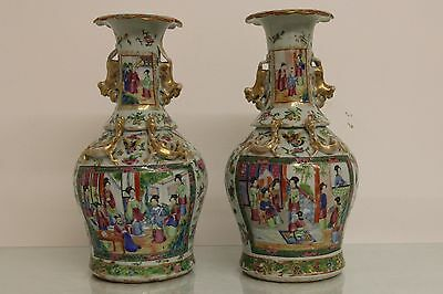 Marvelous Pair of Antique Mid-19th Century Chinese Rose Medallion Vases Signed