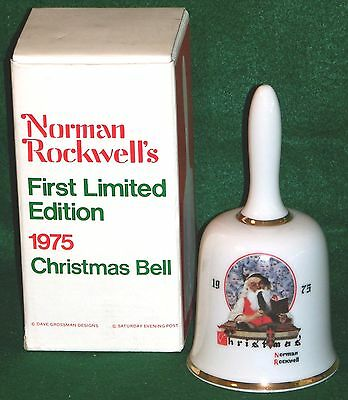 Norman Rockwell's First Limited Edition 1975 Christmas Bell - In Box