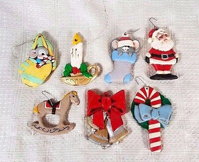 7 Piece Vintage Hand Painted Ceramic Ornaments Mice, Santa, Cane, Horse, Bells