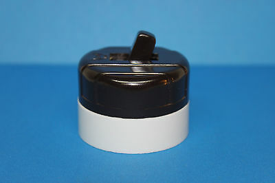 Vintage Eagle Brown & White Bakelite Round Toggle Light Switch - NEW OLD STOCK