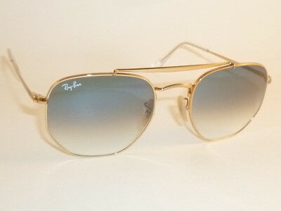 d26fc256abbd New RAY BAN Marshal Sunglasses Gold Frame RB 3648 001 3F Gradient Blue Lens  54mm