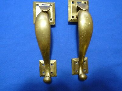 Vintage PAIR BRASS DOOR HANDLES Thumb Latch Heavy Good Condition!