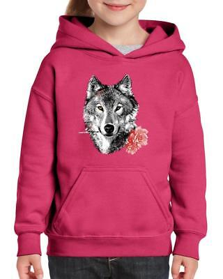 Wolf With Carnatio Gift for BFF Birthday Christmas Party Youth&Kids Hoodie
