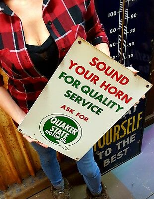 Quaker State Tin Metal Sound Your Horn Sign