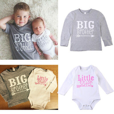 Matching Cotton Clothes Big Brother T-shirt Tee Little Brother Romper Outfit Set