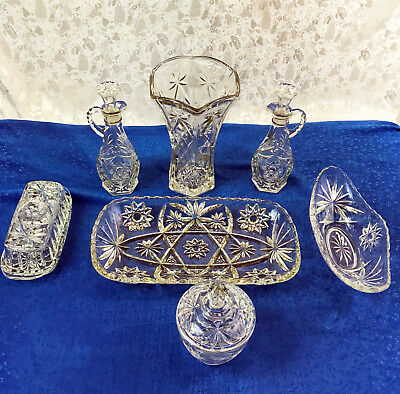 Vintage Anchor Hocking Eapc Star Of David Crystal Clear Glassware *your Choice!*