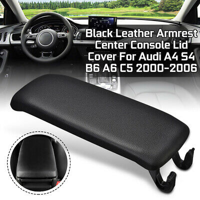For Audi A4 S4 B6 A6 C5 2000-2006 Black Leather Armrest Center Console Lid Cover