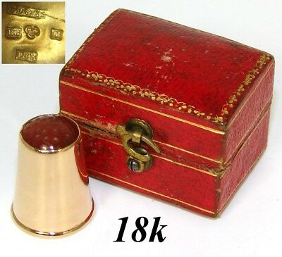 Vintage Swedish 18k Gold & Carved Carnelian Sewing Thimble, Fitted Box or Etui