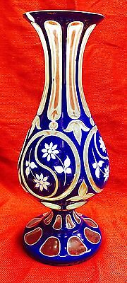 Wonderful Antique Bohemian Mosser Glass Vase Very Good Condition For The Age