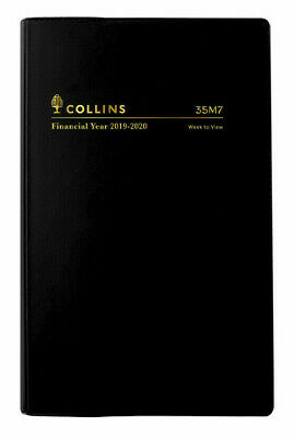 2019 2020 Collins Financial Year Diary B7R Week to View Open Vinyl 35M7 BLACK