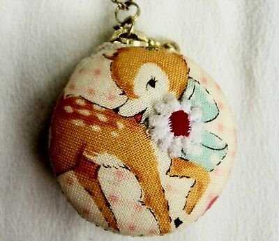 Vintage Zip Up Mini Cotton Purse Necklace- Deer on one side, Duck the other