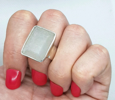 Rectangle Moonstone Ring, size 8 1/2, Sterling Silver, Unisex
