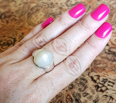 Moonstone Ring, size 9 US, Sterling Silver, wide band, Brand NEW