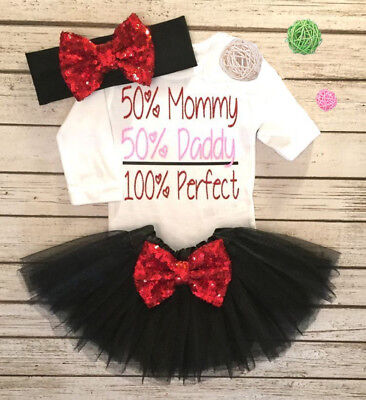 Newborn Baby Girls Long Sleeve Top Romper Sequin Lace Tutu Skirt Outfits Clothes