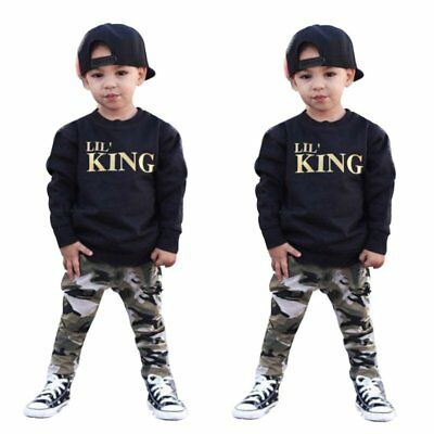 2pcs Toddler Kids Baby Boys T-shirt Tops +Camouflage Pants Outfits Clothing Sets