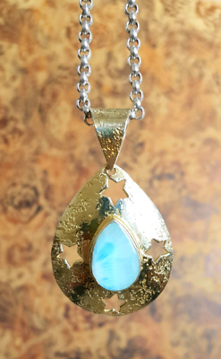 Larimar Star Pendant, Gold and Silver, Dolphin Stone, Brand NEW
