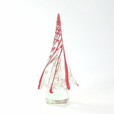 "New 12"" Large Hand Blown Art Glass Christmas Tree Sculpture Figurine Red"