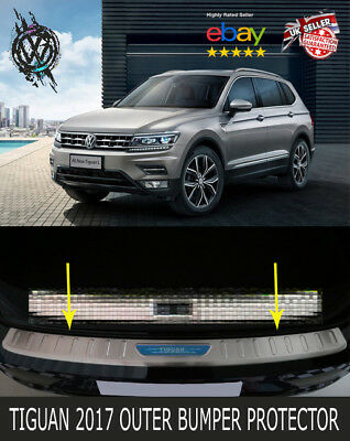 Vw Tiguan 2017,2018 Outer Rear Bumper Protector Guard Trim Cover Sill Plate Uk
