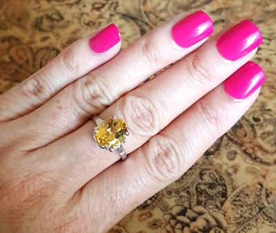 Citrine Heart Ring, size 9 US, Sterling Silver, Money Stone, NEW
