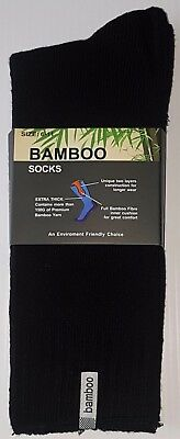 6 Prs Mens Sz 6-11 Black 92% Bamboo Cushion Foot Extra Thick Work/Hiking Socks