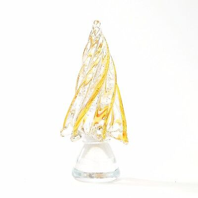 "New 8"" Hand Blown Art Glass Amber Clear Christmas Tree Sculpture Figurine Decor"