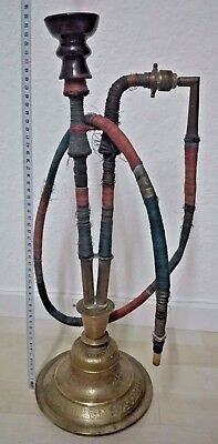 Antique copper hookah and cane
