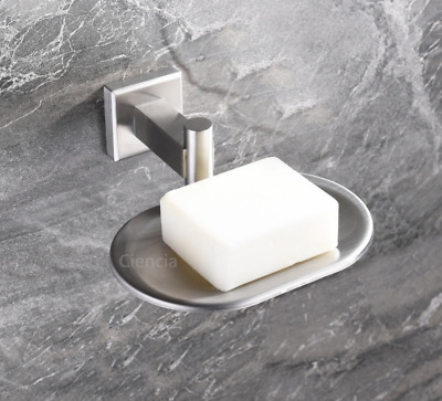 Modern Brushed Nickel Stainless Steel Bathroom Soap Dish Holder Wall Mounted