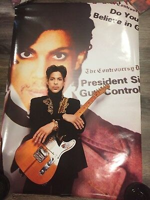Rare Prince guitar poster in front of Controversy album