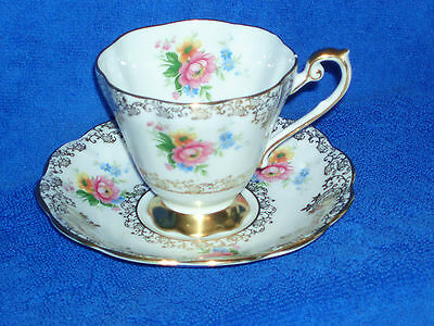 Royal Standard Bone China Cup & Saucer - Floral and Gold Trim - Made in England