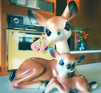 Vintage Deer Midcentury Momma And Baby Collectibles Figurines Big Eyes
