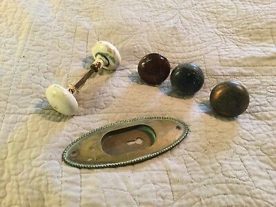 Lot Of Vtg Door Hardware White Brown Black Porcelain Metal Brass Oval Back Plate