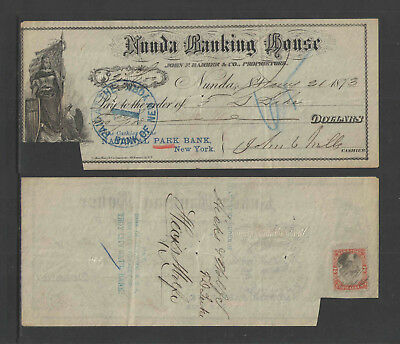 1873 NUNDA BANKING HOUSE NY NATIONAL PARK BANK NY ANTIQUE CHECK w/ REVENUE STAMP